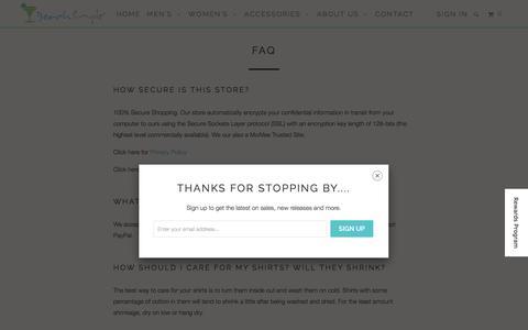 Screenshot of FAQ Page beachsimple.com - FAQ   - BeachSimple® Clothing Company - captured Feb. 7, 2016