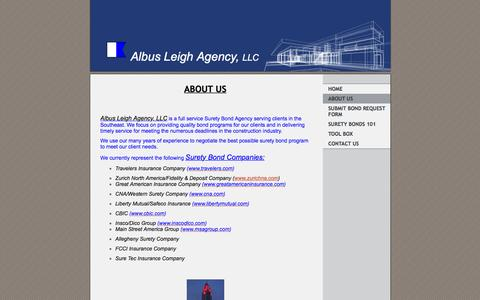 Screenshot of About Page ala-bonds.com - Albus Leigh Agency, LLC - About Us - captured Feb. 5, 2016