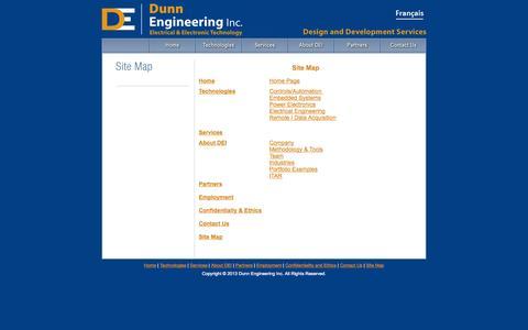 Screenshot of Site Map Page dunn-engineering.com - Dunn Engineering Inc. Electrical & Electronic Technology - Ottawa, Ontario, Canada - captured Oct. 5, 2014