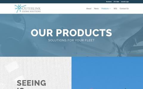 Screenshot of Products Page outerlink.com - Aviation Solutions For Your Fleet | Outerlink Global Solutions - captured Sept. 24, 2018
