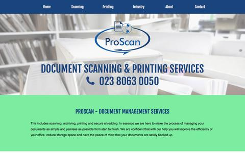 Screenshot of Home Page proscan-imaging.co.uk - ProScan : Document Scanning and Printing Services - captured Feb. 2, 2016
