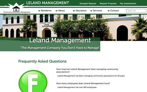 Screenshot of FAQ Page lelandmanagement.com - Leland Management - captured July 1, 2018