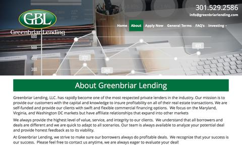 Screenshot of About Page greenbriarlending.com - About Greenbriar Lending - Greenbriar Lending, LLC - captured Nov. 16, 2016