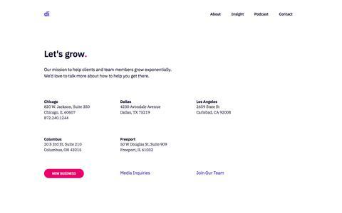 Screenshot of Contact Page digintent.com - Let's grow. - Digital Intent - captured Nov. 25, 2019