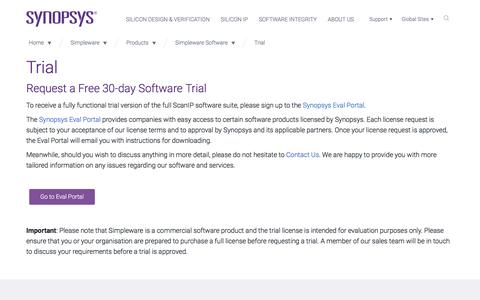 Screenshot of Trial Page synopsys.com - Simpleware Software Trial Request - captured Sept. 21, 2018
