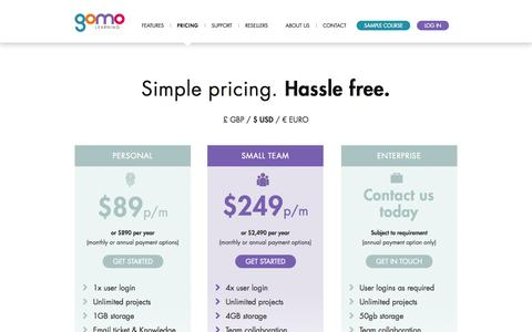 Screenshot of Pricing Page gomolearning.com - Pricing | gomo learning multi-device e-learning authoring tool - captured Sept. 30, 2014