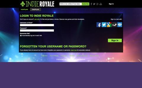 Screenshot of Login Page indieroyale.com - Login - Indie Royale - captured Feb. 18, 2016