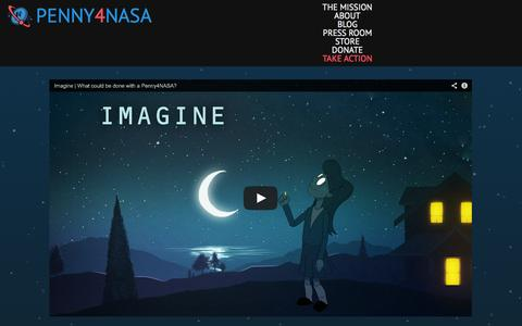 Screenshot of Home Page penny4nasa.org - Penny4NASA | Penny4NASA is a nonprofit striving to increase NASA's funding to 1% by encouraging popular support for NASA through education and outreach. - captured Sept. 29, 2014