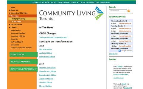 Screenshot of Press Page cltoronto.ca - In The News | Community Living Toronto - captured Sept. 29, 2018