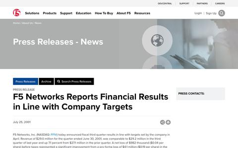 Screenshot of Press Page f5.com - F5 Networks Reports Financial Results in Line with Company Targets - captured March 8, 2018