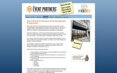 Screenshot of About Page gcgeventpartners.com - Event Staffing Services, Event Management Professionals, On Site Event Management - captured Oct. 1, 2014