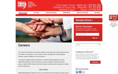 Screenshot of Jobs Page lacasa.org - Careers | La Casa de las Madres - captured July 10, 2017