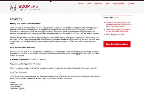 Screenshot of Privacy Page boomersva.com - Privacy - captured Oct. 5, 2014