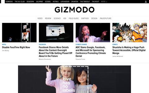 Screenshot of Home Page gizmodo.com - Gizmodo - We come from the future. - captured Jan. 29, 2019
