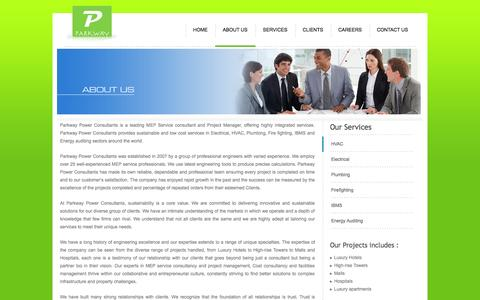 Screenshot of About Page greenparkway.co.in - MEP Service Consultant in chennai - captured Oct. 1, 2014