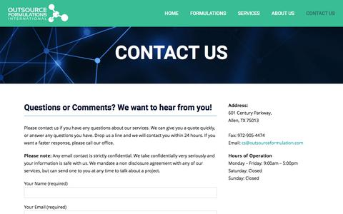 Screenshot of Contact Page outsourceformulation.com - Contact Us - Outsource Formulations International - captured Oct. 22, 2017