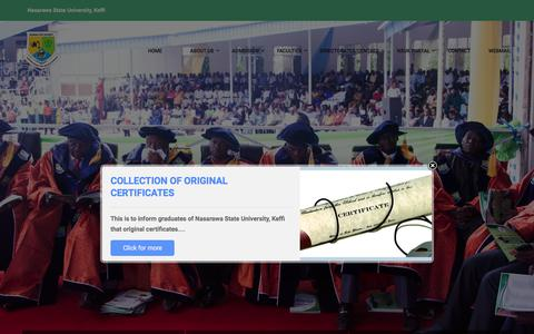 Screenshot of Home Page nsuk.edu.ng - Welcome to Nasarawa State University, Keffi - captured Aug. 10, 2017