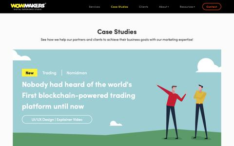 Screenshot of Case Studies Page wowmakers.com - (2) New Messages! - captured Nov. 8, 2018