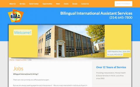 Screenshot of Jobs Page bilingualstl.org - Jobs - Bilingual International Assistant Services - captured Nov. 3, 2014