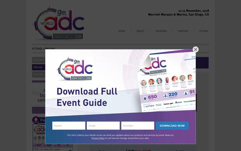 Screenshot of Pricing Page worldadc-usa.com - World ADC San Diego | Hanson Wade - Pricing - 9498 - World ADC San Diego - captured Oct. 3, 2018