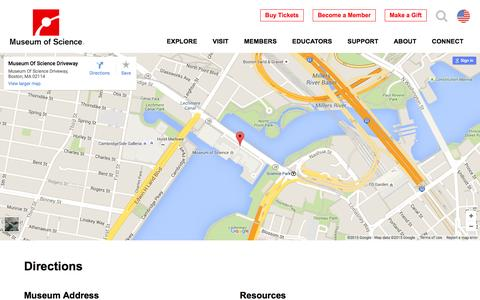 Screenshot of Maps & Directions Page mos.org - Directions | Museum of Science, Boston - captured Dec. 4, 2015