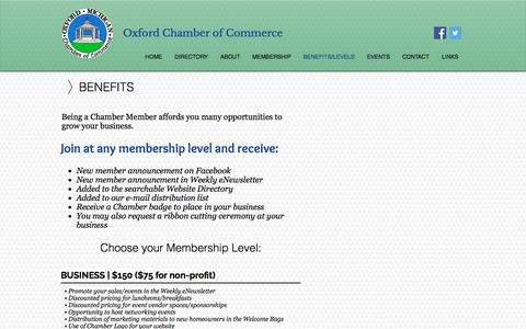 Screenshot of About Page oxfordchamber.net - Benefits | Oxford Chamber of Commerce - captured July 3, 2018