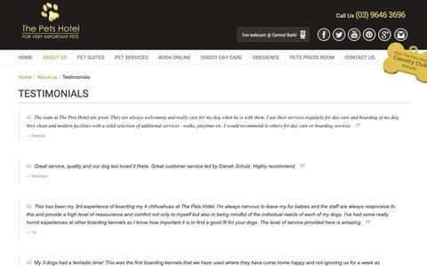 Screenshot of Testimonials Page thepetshotel.com.au - Testimonials - captured Oct. 20, 2018