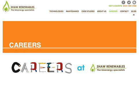 Screenshot of Jobs Page shawrenewables.co.uk - Shaw Renewables Ltd.Careers | Shaw Renewables Ltd. | Bioenergy Specialists - captured Oct. 20, 2017
