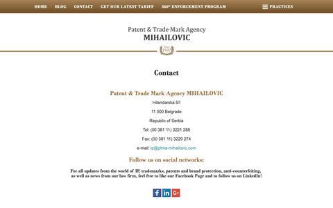 Screenshot of Contact Page ptma-mihailovic.com - Patent & Trade Mark Agency Mihailovic Law Office Serbia - captured Sept. 27, 2018