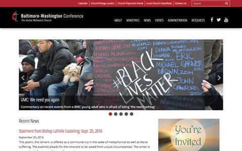 Screenshot of Home Page bwcumc.org - Baltimore-Washington Conference UMC - captured Sept. 22, 2016