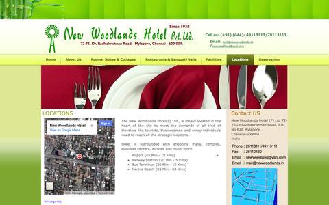 Screenshot of Locations Page newwoodlands.com - New hotel woodlands - captured Oct. 9, 2014