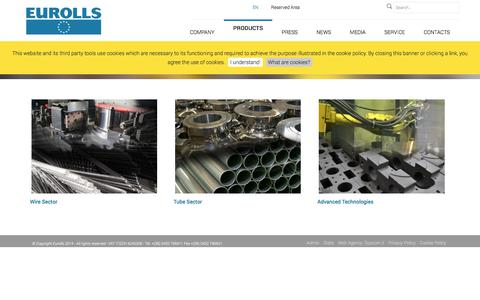 Screenshot of Products Page eurolls.com - Products - captured Sept. 26, 2018
