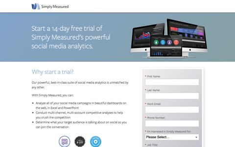 Screenshot of Trial Page simplymeasured.com - Start a free trial of Simply Measured - captured Sept. 17, 2014