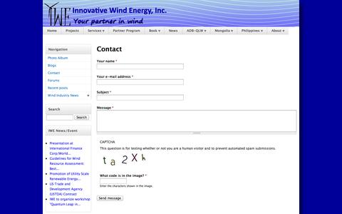 Screenshot of Contact Page i-windenergy.com - Contact | Innovative Wind Energy, Inc. Corporate Website - captured Oct. 6, 2014