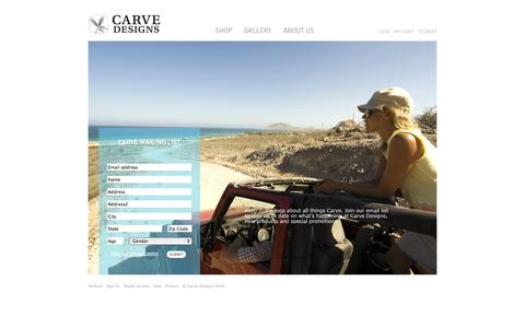 Screenshot of Signup Page carvedesigns.com - Women's swimwear, women's dresses, surfwear & more / Carve Designs / Subscribe - captured Sept. 26, 2014