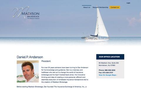 Screenshot of Team Page madisonbrokerage.com - Daniel P. Anderson | Madison Brokerage - captured July 22, 2016