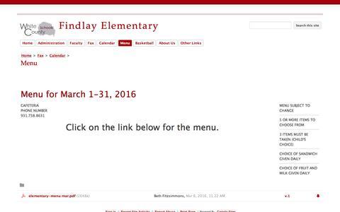 Screenshot of Menu Page findlayelementary.com - Menu - Findlay Elementary - captured June 18, 2016