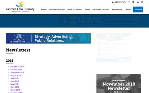 Screenshot of Press Page easternlakecountychamber.org - Newsletters | Eastern Lake County Chamber of Commerce - captured Nov. 1, 2018