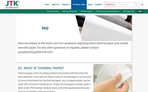 Screenshot of FAQ Page jujothermal.com - FAQ – Jujo Thermal - captured Jan. 25, 2017