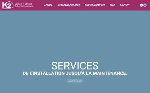 Screenshot of Services Page k2-corp.com - Services - K2 Corp - captured Sept. 20, 2018