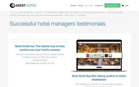 Screenshot of Case Studies Page guestcentric.com - GuestCentric customers - captured Nov. 11, 2016