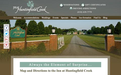 Screenshot of Contact Page Maps & Directions Page huntingfield.com - Directions to Our Bed and Breakfast in Maryland - captured July 3, 2018