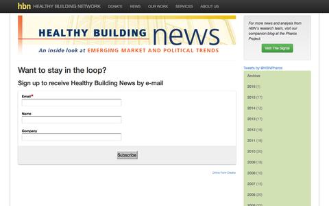 Screenshot of Signup Page healthybuilding.net - Sign up to receive Healthy Building News by e-mail - Healthy Building Network - captured Jan. 27, 2016