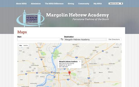 Screenshot of Maps & Directions Page mhafyos.org - Maps | Margolin Hebrew Academy - captured Oct. 17, 2017