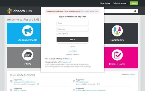 Screenshot of Support Page absorblms.com - Absorb LMS Help Desk - captured Jan. 13, 2017