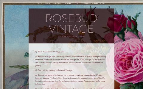 Screenshot of FAQ Page rosebudvintage.com - FAQ — Rosebud Vintage - captured Nov. 5, 2014