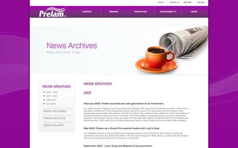 Screenshot of Press Page prelam.com - Prelam Enterprises Ltd. - News Archives 2005 - captured Oct. 3, 2014