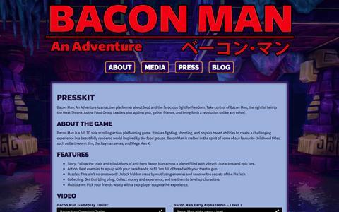 Screenshot of Press Page baconmangame.com - Press | Bacon Man: An Adventure | Press | Skymap Games - captured March 6, 2016