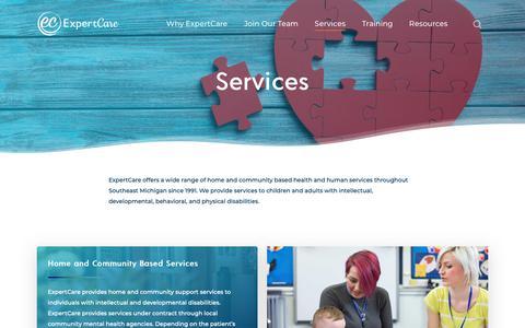 Screenshot of Services Page expertcare.com - Services – Expert Care - captured Nov. 5, 2018