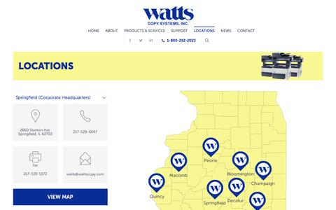 Screenshot of Locations Page wattscopy.com - Locations - Watts Copy Systems - captured Oct. 27, 2017
